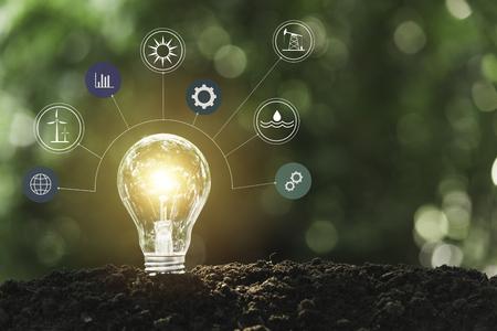 Ampoules avec une incandescente. concept de technologie et de créativité avec des ampoules.