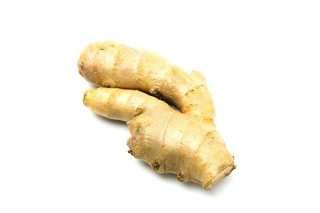 Fresh ginger root isolated on white background. Food and healthy concept