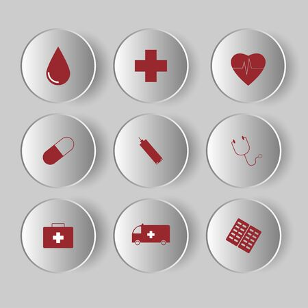 Medical Icons set on grey background. Healthcare signs for medical pharmacy concept. Standard-Bild - 131277979