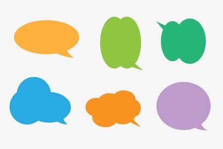 Conjunto de vectores de pegatinas de burbujas de discurso. Discurso vacío en blanco burbujas