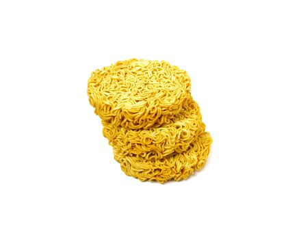 Raw dry instant noodle isolated on white background. Food and object concept. 스톡 콘텐츠