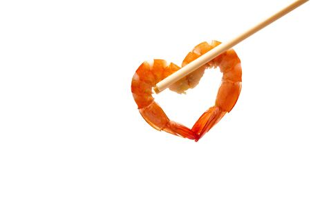 Cooked shrimp isolated on a white background. Food and object. 스톡 콘텐츠