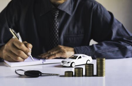 Car insurance and car service. Accounting and financial concept.
