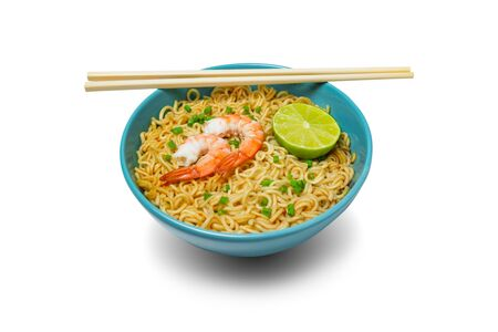 Bowl of instant noodles and shrimps with chopsticks isolated on white background. Food concept.