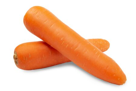 Fresh carrots isolated on white background. Close up of carrots