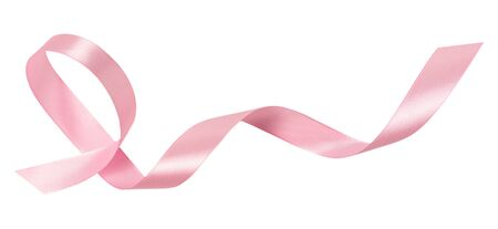A pink ribbon isolated on a white background with clipping path.