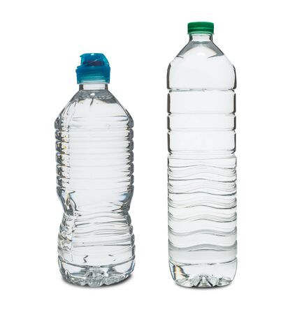 A Plastic water bottle with clipping path isolated on a white background. 版權商用圖片