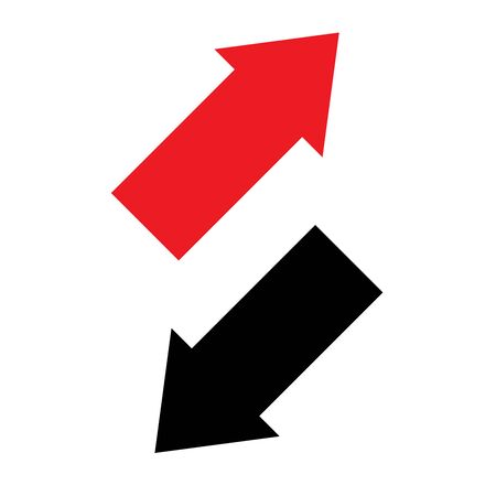 Two way arrows up and down directions opposite. Vector illustration.