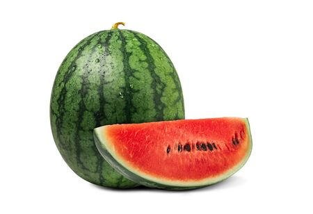 Watermelon with sliced of fresh watermelon isolated on a white background.