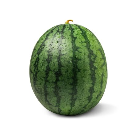 A fresh watermelon with clipping path isolated on a white background.