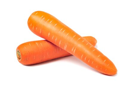 Fresh carrots isolated on white background. Close up of carrots. 版權商用圖片