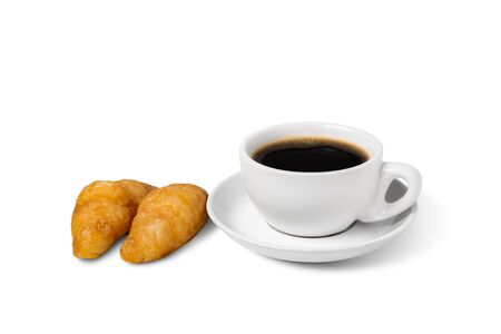 Fresh croissant coffee white cup on plate on a white background. Archivio Fotografico