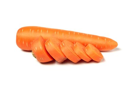 Fresh carrots isolated on white background. Close up of carrots. Stock Photo