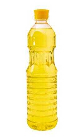 Vegetable oil in plastic bottle     on a white background