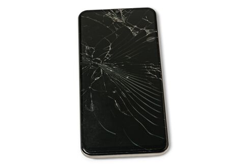 A broken touch screen  smart phone     on white background. Stok Fotoğraf