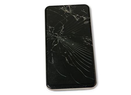 A broken touch screen  smart phone     on white background. 版權商用圖片 - 148587322