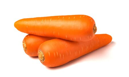 Fresh carrots isolated on white background. Close up of carrots. Imagens
