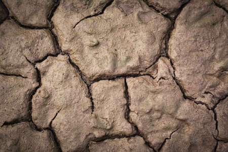 Desolate earth from above. Dry cracked surface top view. Cracking land background with concept of lifeless. Imagens