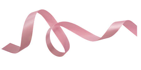 A pink ribbons isolated on a white background 스톡 콘텐츠