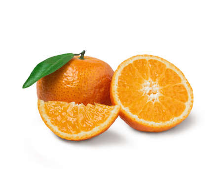 Fresh orange with orange slices and leaves isolated on white background. Orange with clipping path.