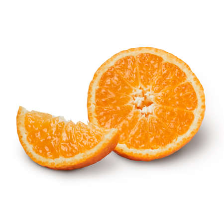 Fresh orange with orange slices isolated on white background. Orange with clipping path. Stock fotó