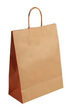 Empty brown shopping bag with isolated on a white background. Brown shopping bag with clipping path.