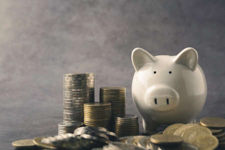 A piggy bank with money coin stack growing for business. financial and accounting concept. 免版税图像