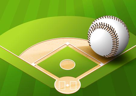 Abbildung Baseball auf Grünfläche Baseballfeld Vektorgrafik