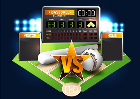 Diamant de baseball et tableau de bord de baseball. VS Batailles. Vecteurs