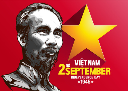 editorial use only. September 2, 1945. Portrait of Ho Chi Minh. Vietnam Independence Day. Vector illustration.