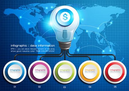 infographic Light bulbs Business. vector illustration. world map this element furnished by nasa Illusztráció