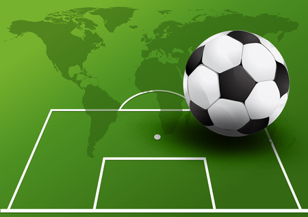 Soccer ball on the Soccer field. vector illustration.