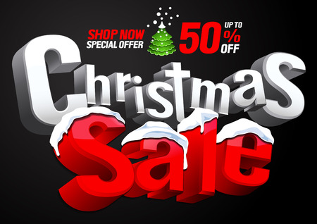 Weihnachtsverkauf Sonderangebot auf schwarzem Hintergrund, Vektor-Rabatt-Illustration. Vektorgrafik