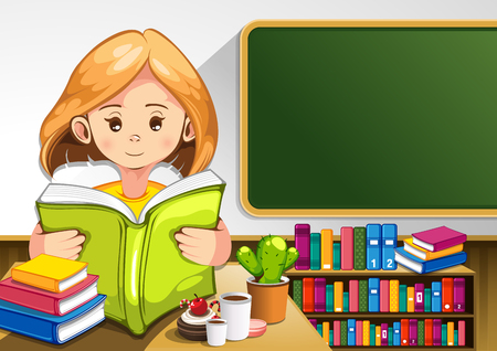 child reading books in the classroom. vector illustration. you can place relevant content on the area.