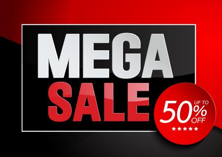 Mega Sale, End of Season, special offer, poster design template, vector illustration