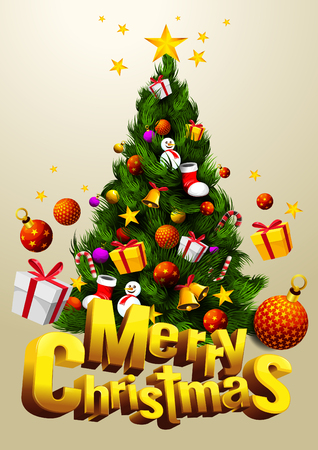 merry christmas tree with gift festival. Cartoon vector illustration font design 3D. vertical poster, EPS 10 You can rearrange the images or you can place relevant content on the area. Illustration
