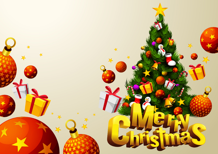 merry christmas tree with gift festival. Cartoon vector illustration font design 3D. Horizontal poster, EPS 10 You can rearrange the images or you can place relevant content on the area.