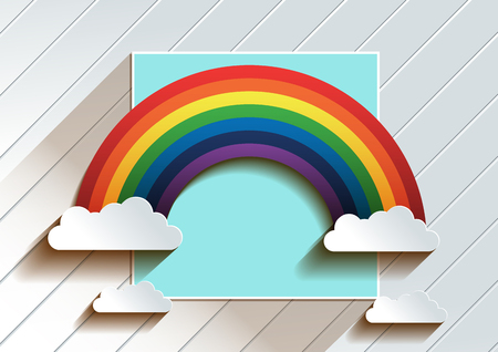 Rainbow With Clouds background. vector illustration. you can place relevant content on the area. Illustration