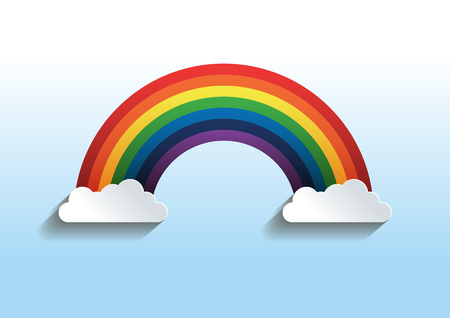 Rainbow With Clouds. vector illustration. you can place relevant content on the area.
