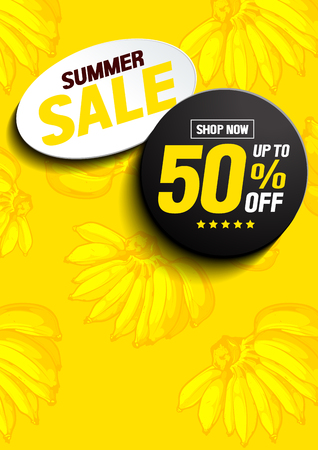 Banana Summer Sale Poster, Vector illustration, you can place relevant content on the area.