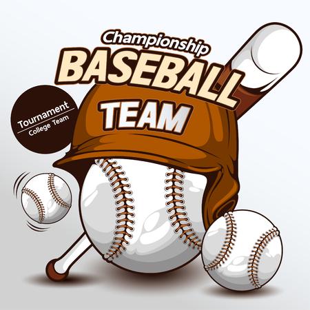 Logo de baseball, dessinés à la main, dessin illustration vectorielle d'image.