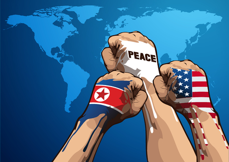 peace vector illustration, United States of America, and North Korean, you can place relevant content on the area. Ilustrace