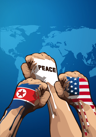 peace vertical vector illustration, United States of America, and North Korean, you can place relevant content on the area. Illustration