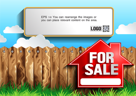 for sale sign, vector illustration, you can place relevant content on the area. Illustration