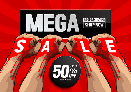 Mega Sale concept, vector illustration, you can place relevant content on the area. Illustration