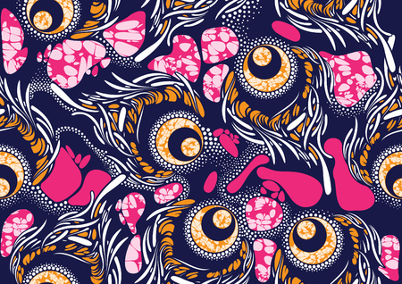 Textile fashion african print fabric super wax  イラスト・ベクター素材