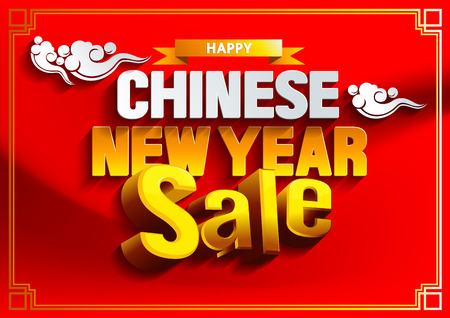 Happy Chinese New Year Sale Background. Vector illustration.