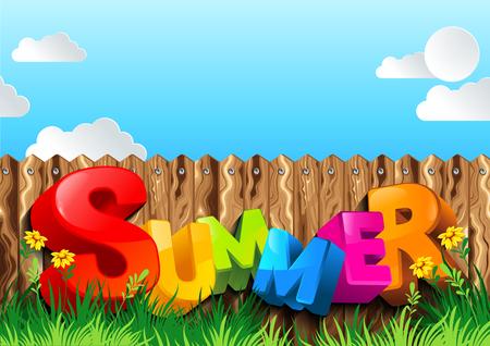 Sommerhintergrund, Vektorillustration, können Sie relevante Inhalte auf dem Gebiet platzieren. Vektorgrafik