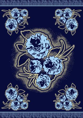 Textile fashion african print fabric super wax, Ankara prints, abstract seamless, vector illustration file.  イラスト・ベクター素材