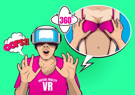 VR virtual reality technology, glasses and headset, pop art vector illustration.